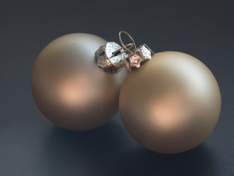 christmas baubles decorations balls matte close up shiny shimmer glisten gold festive merry celebration cheer