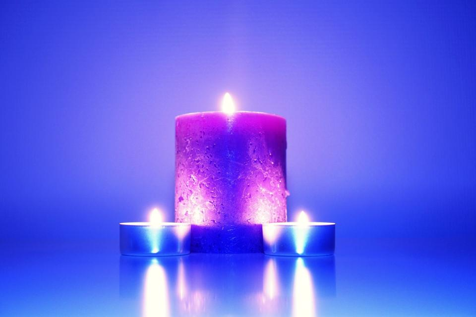 fire candles blue purple wax