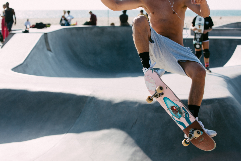 skateboard jump park youth person athlete exercise fun sports skater man summer warm sunny trick extreme