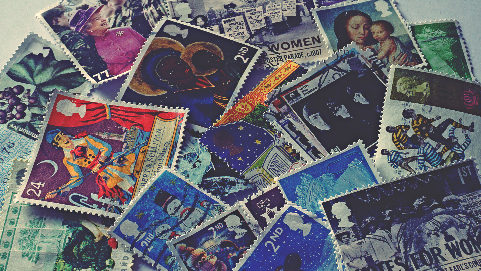 stamps collection close up postage mail art design