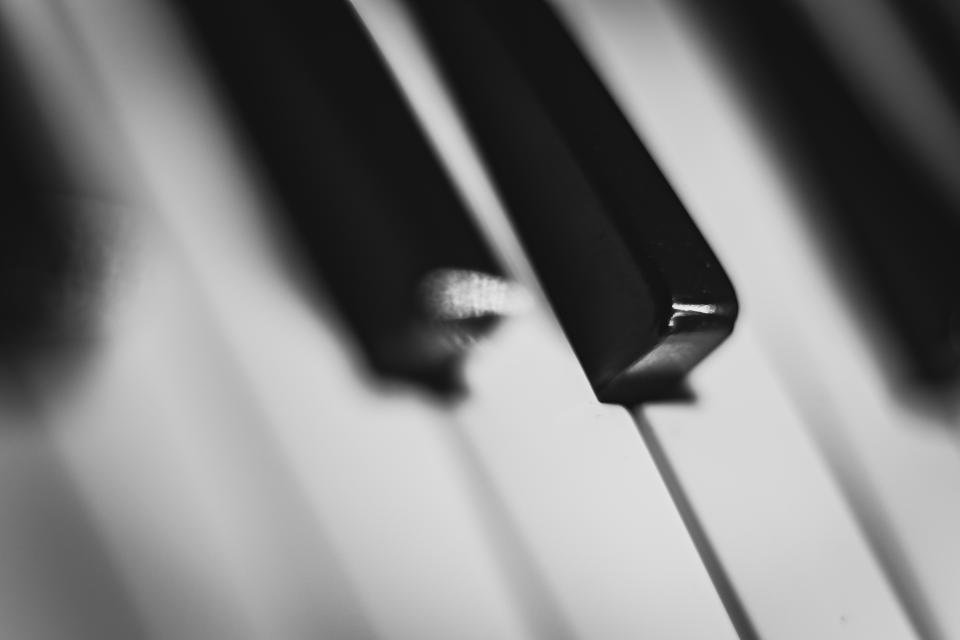 piano keys music instrument black and white