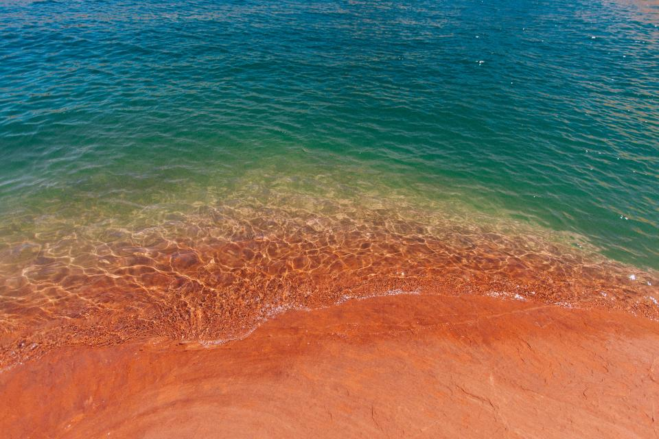 nature coast shore beach sand water ocean sea waves ripples beautiful colors gradient coral beige blue green