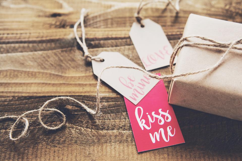 wooden table gift wrap tag valentine