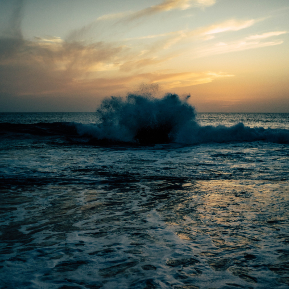 breaking wave sunset sun sky sea water ocean evening dusk foam break