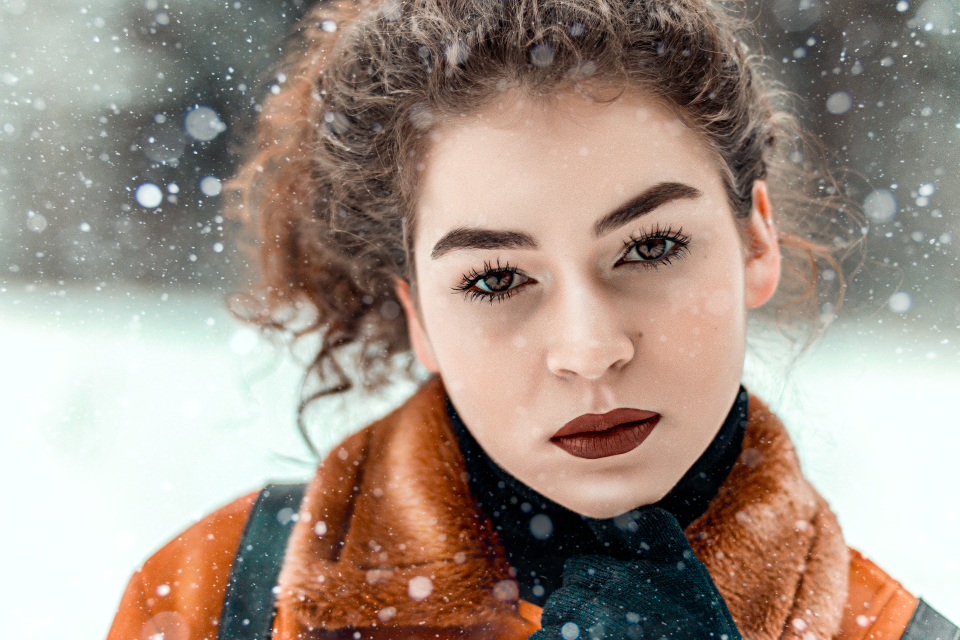 beautiful beauty fashion girl model outdoors photoshoot pretty season woman attractive curly hair daytime eyes face female hair hairstyle natural posing skin young cute glamour lady snow winter cold serious