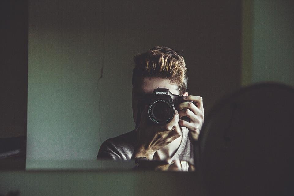 people man guy camera photographer photography mirror