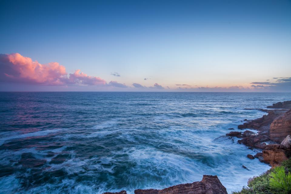 ocean sea waves horizon landscape sky clouds sunset shore coast
