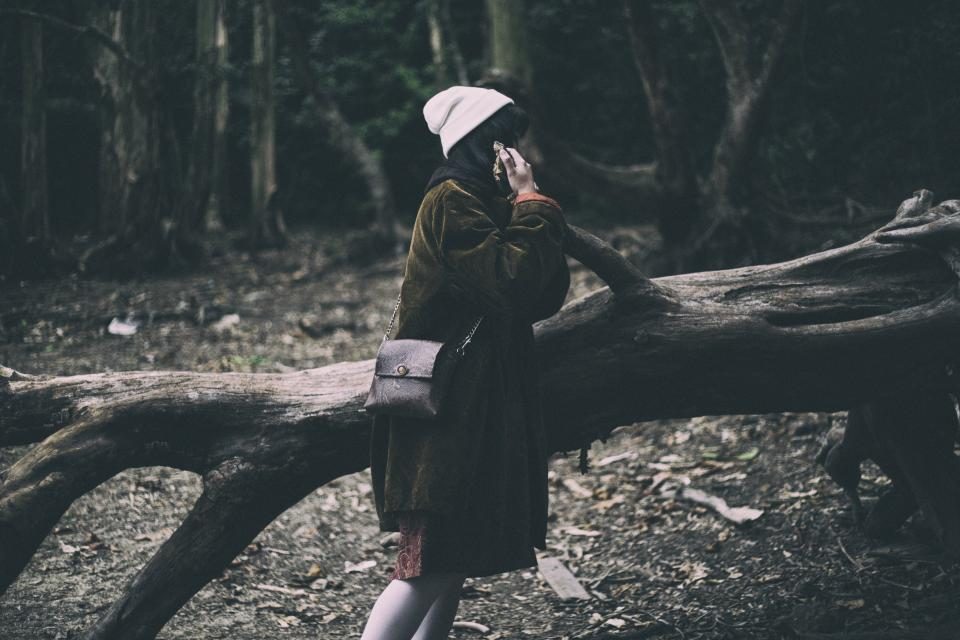 tree branch nature outdoor forest travel people girl female sad alone