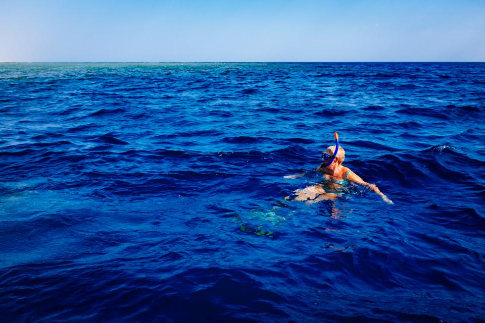 ocean sea water horizon sunshine summer vacation snorkeling diving travel tropical snorkel girl people blue