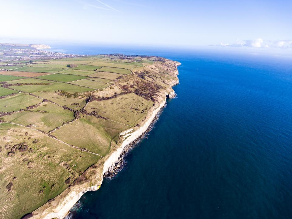sea ocean blue water nature coast aerial view landscape field farm sky cloud