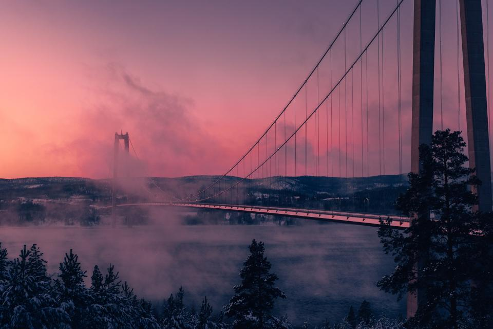 sunset dusk fog foggy bridge architecture mountains landscape nature trees outdoors