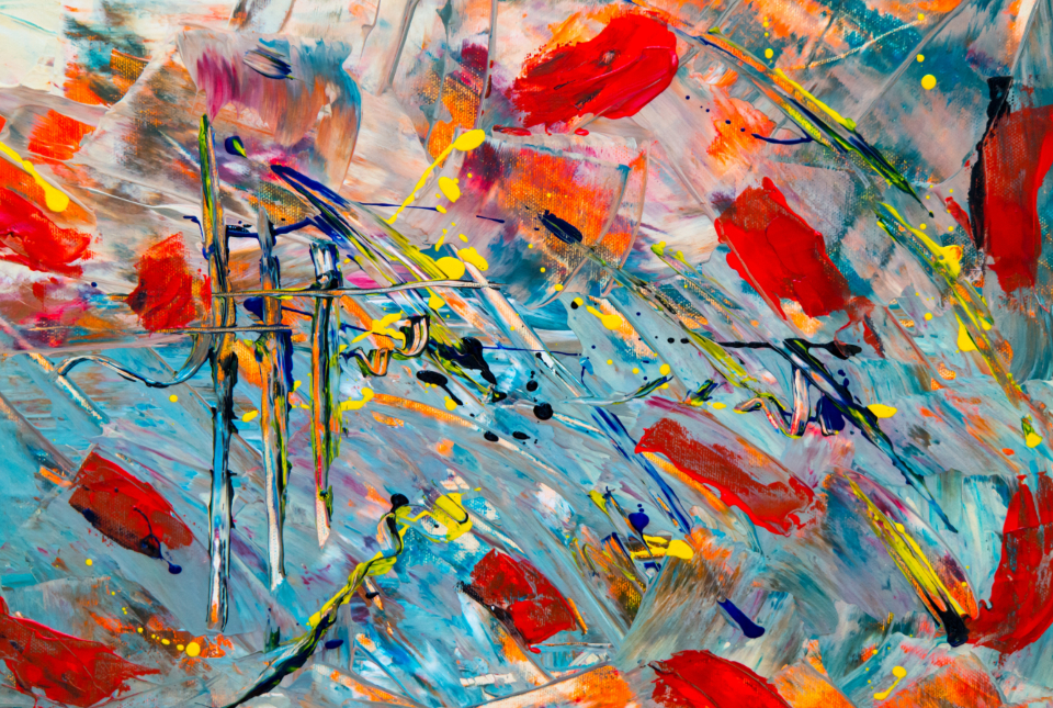 colorful abstract painting art creative design artist canvas acrylic multicolor close up messy
