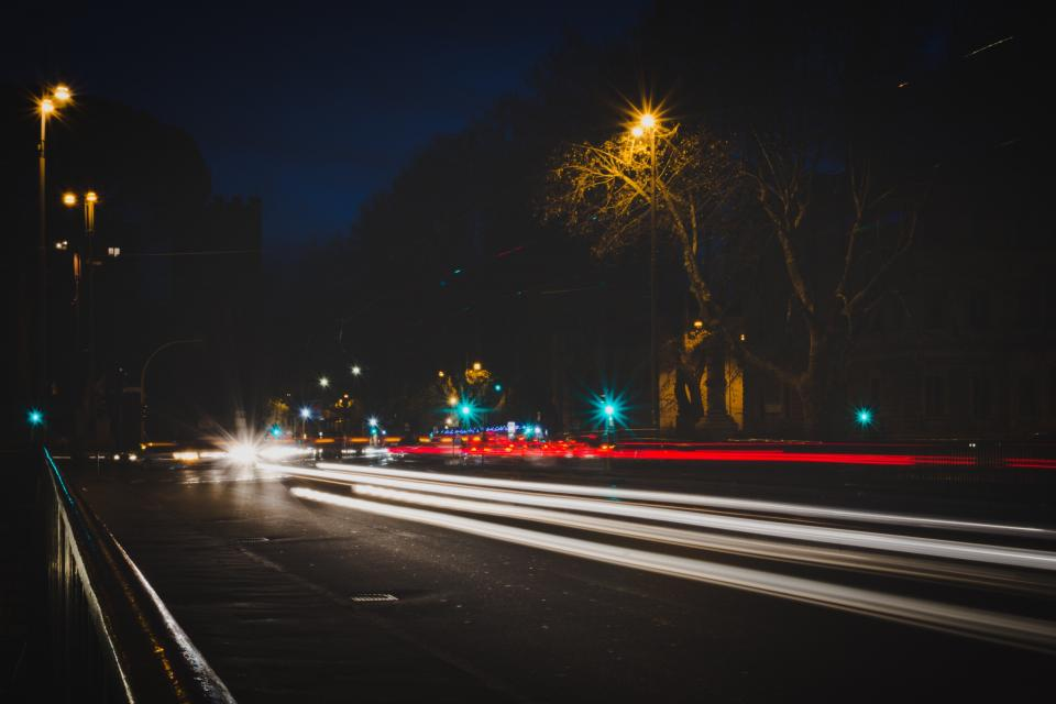 long exposure car transportation photography dark night city urban lights trees highway road
