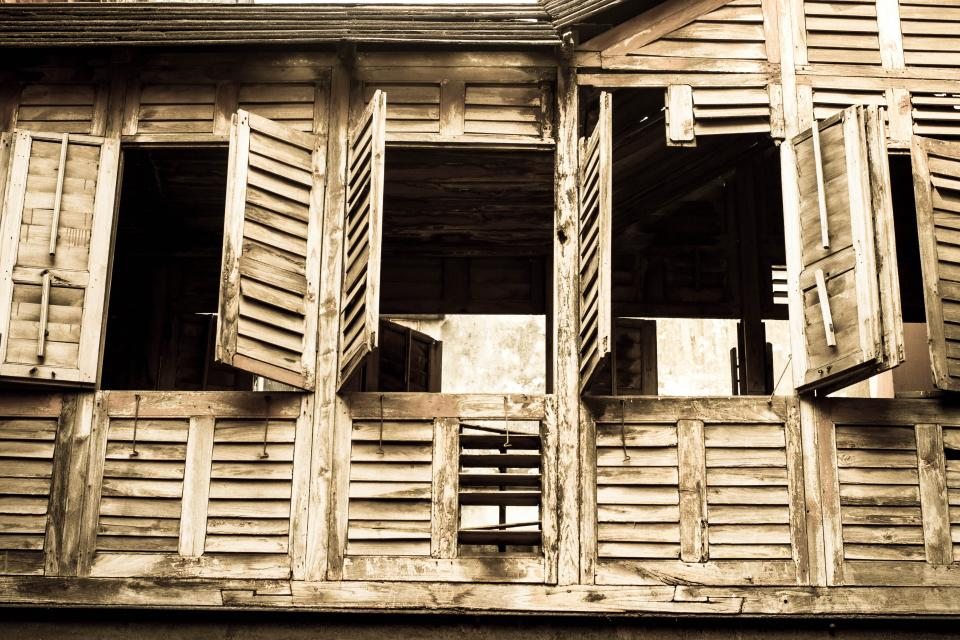 windows shutters architecture broken wood old