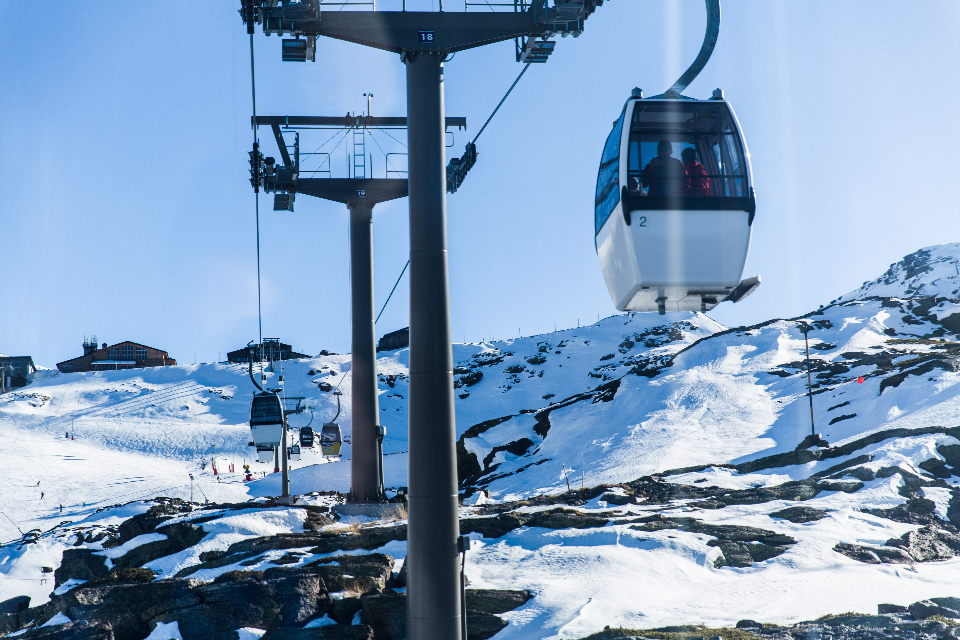 cable car snow mountain cold ice high blue sky ski sport travel adventure