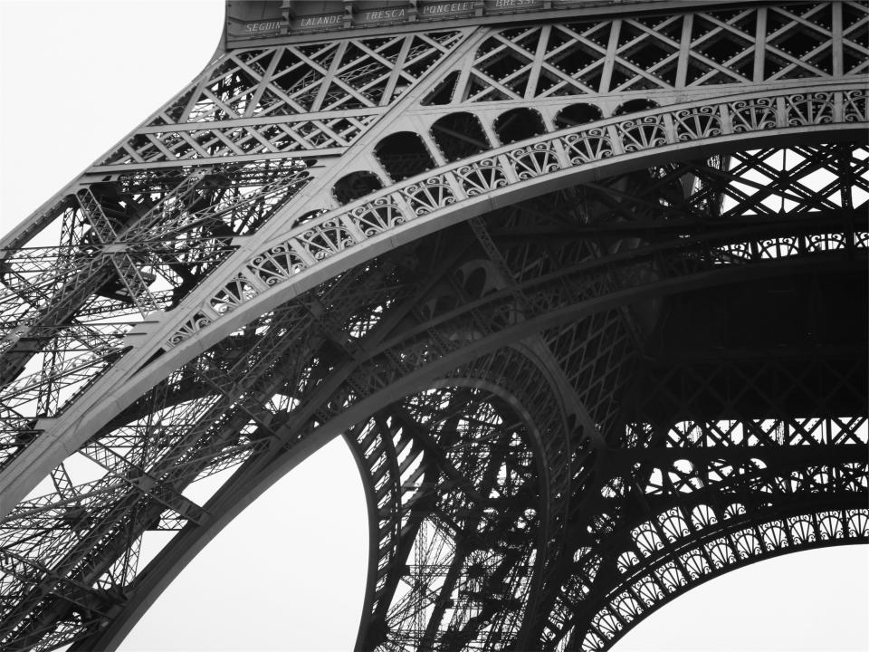 Eiffel Tower architecture black and white