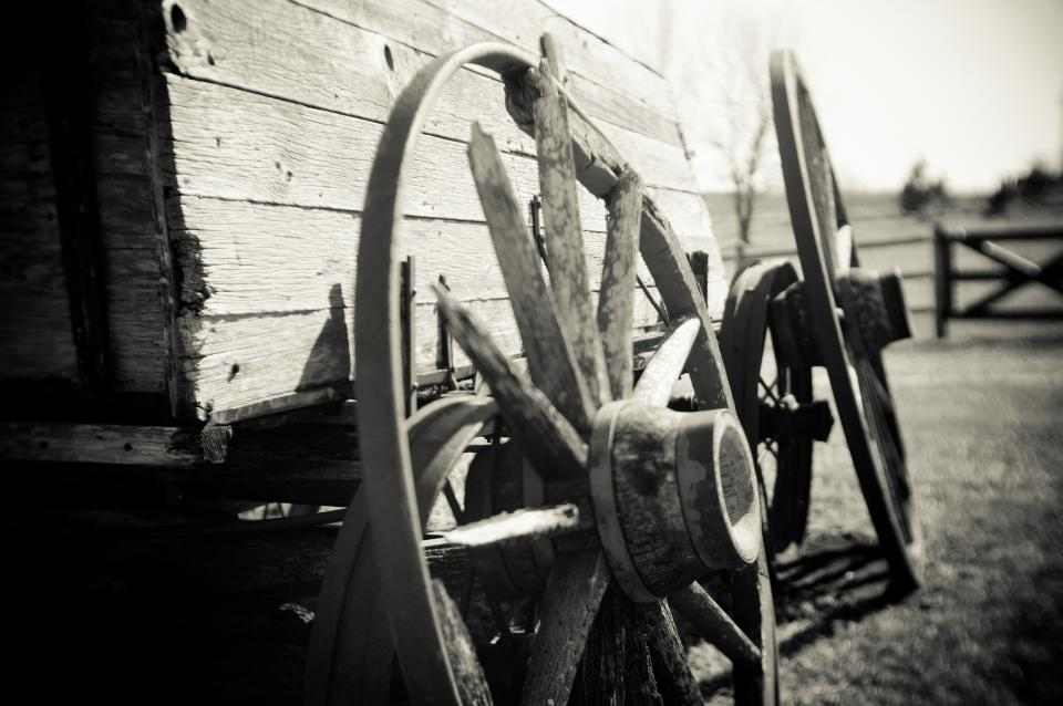 black and white wagon wheels farm