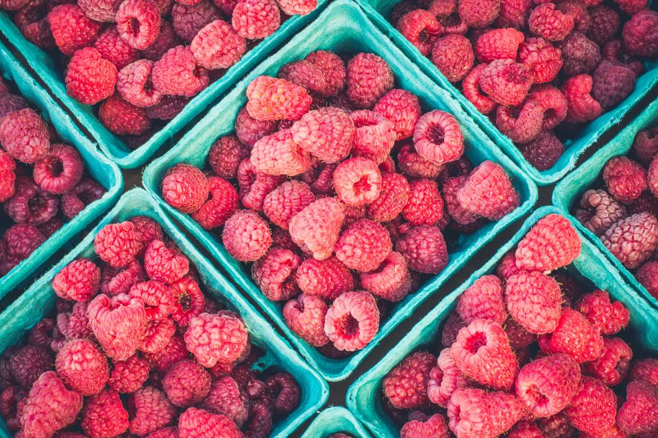raspberry red fruit food harvest farm basket market healthy