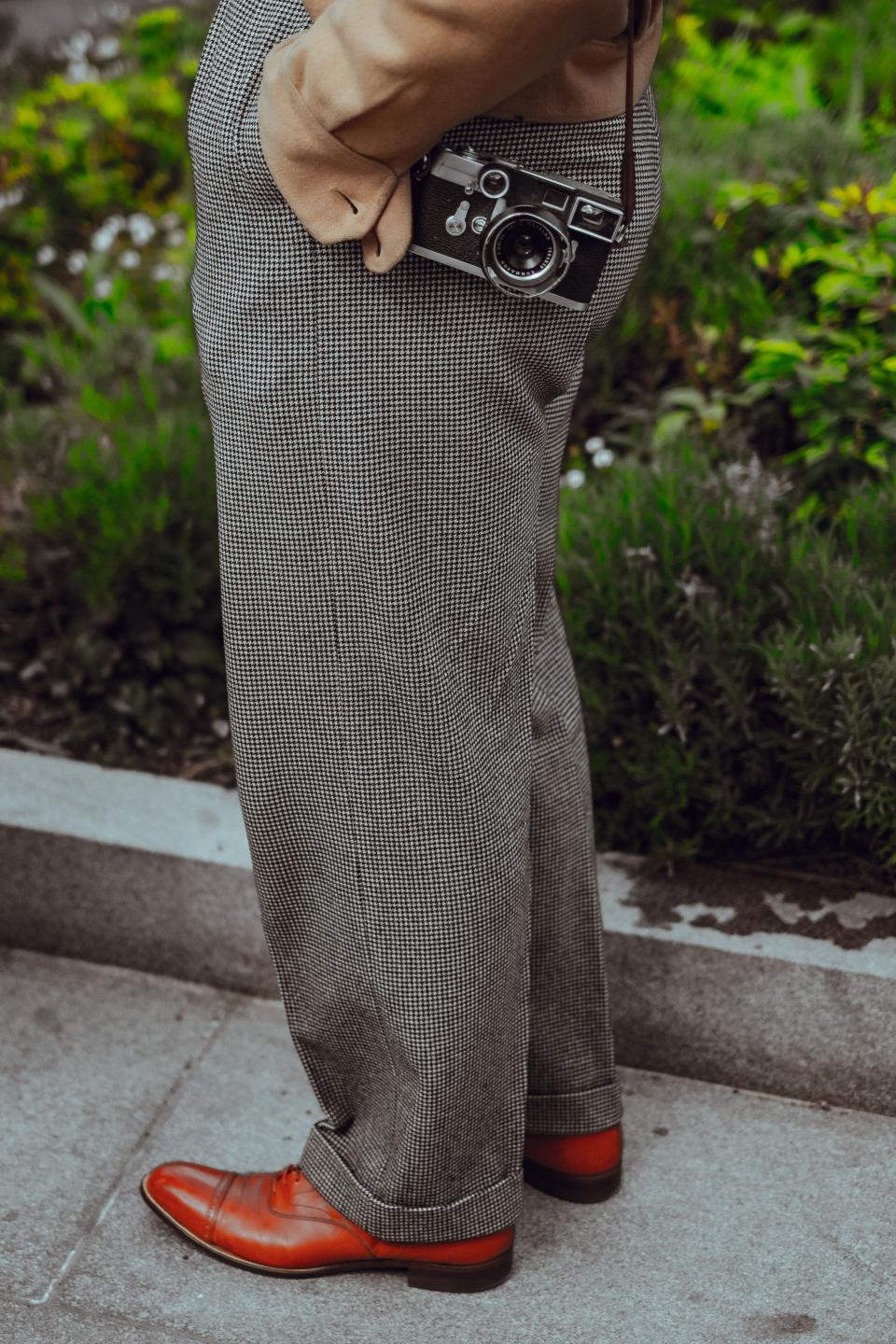 people man old fashion pants leather shoes camera photographer