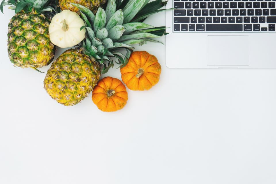 pineapple dessert appetizer fruit juice crop garlic pumpkin laptop apple macbook