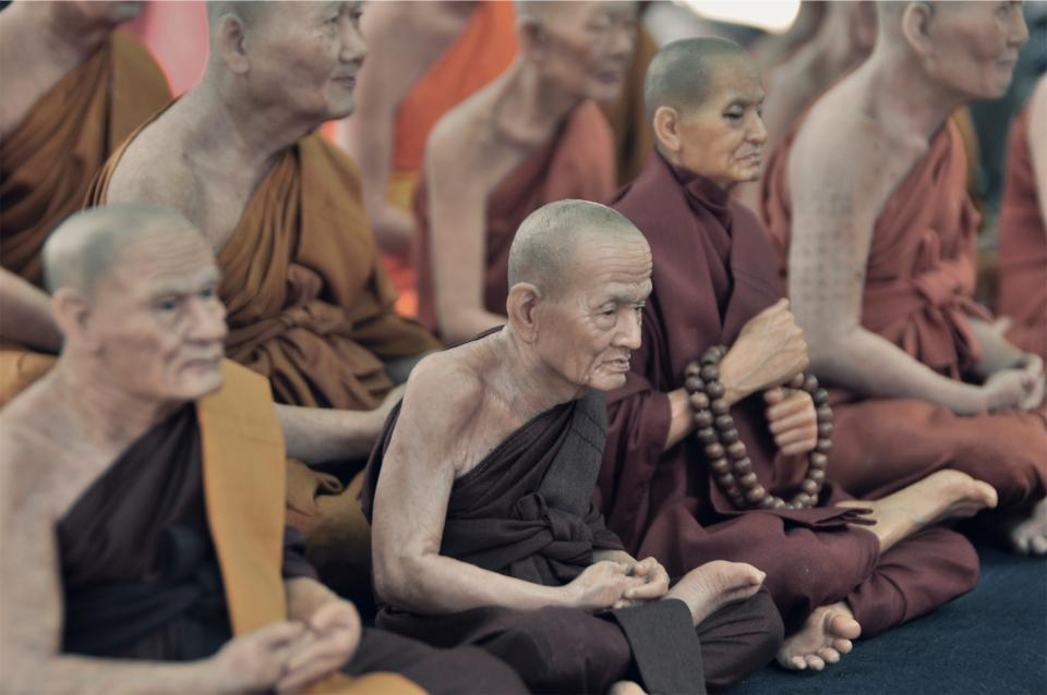 monks religion culture old elderly people praying group asian