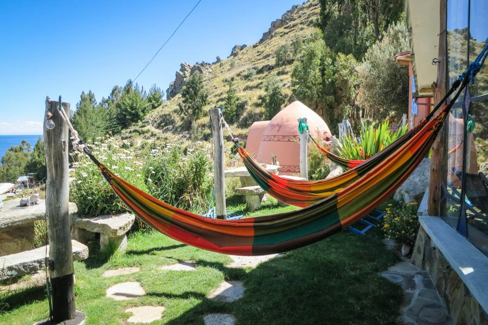 hammocks Las Olas Suites Copacabana Bolivia relaxing chilling grass yard hills