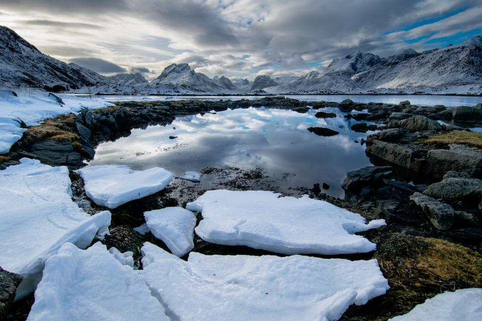nature landscape ice snow mountains sky clouds water reflection