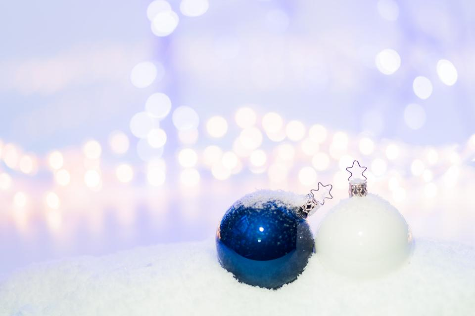 christmas ball decoration blue white ornament christmas holiday bokeh
