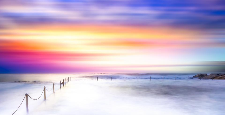 sunset sky water ocean sea horizon coast cloud sky view