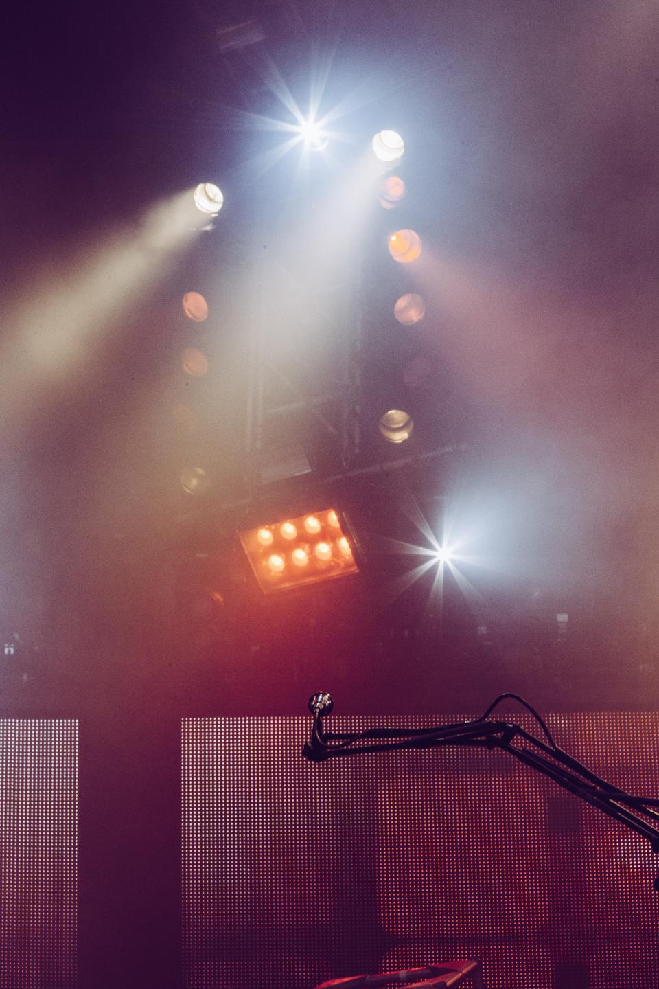 microphone music concert stage spotlight night lighting