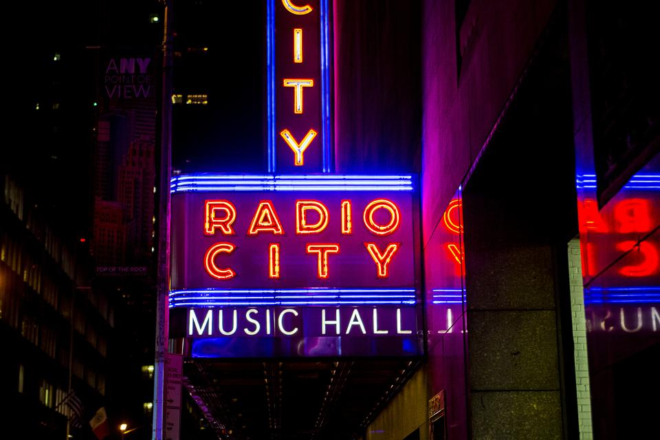 building architecture structure city night light signage radio music hall