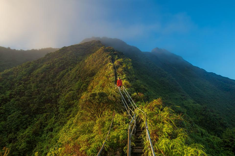 nature landscape mountains summit peaks stairs path baluster sky horizon clouds fog woman ladey people travel hike climb