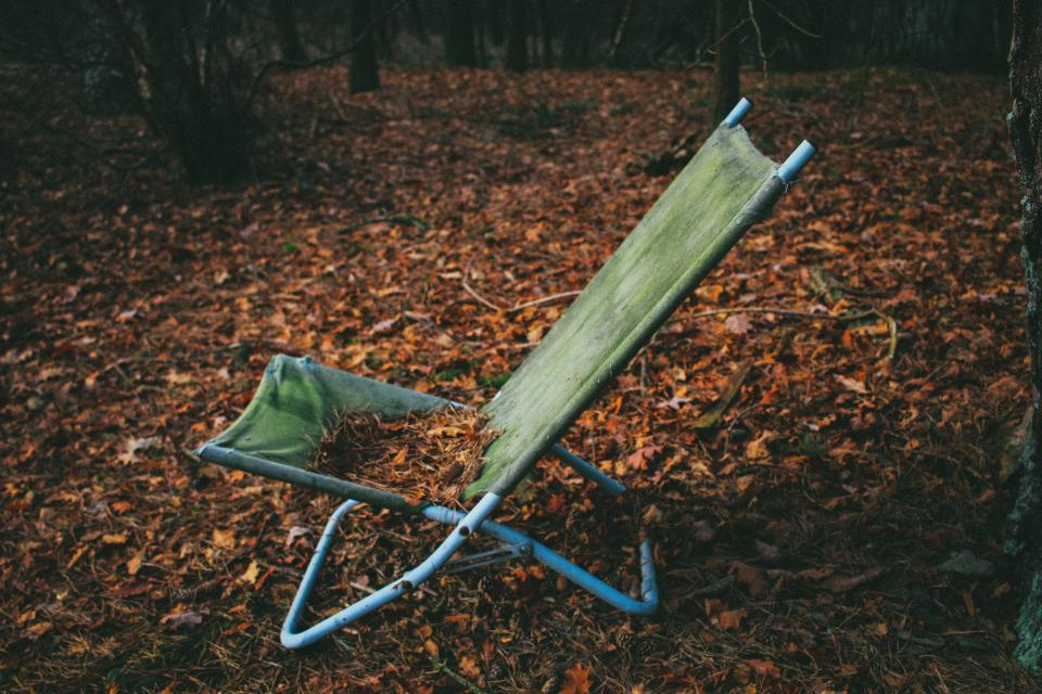 sit folding chair leaves autumn fall alone empty
