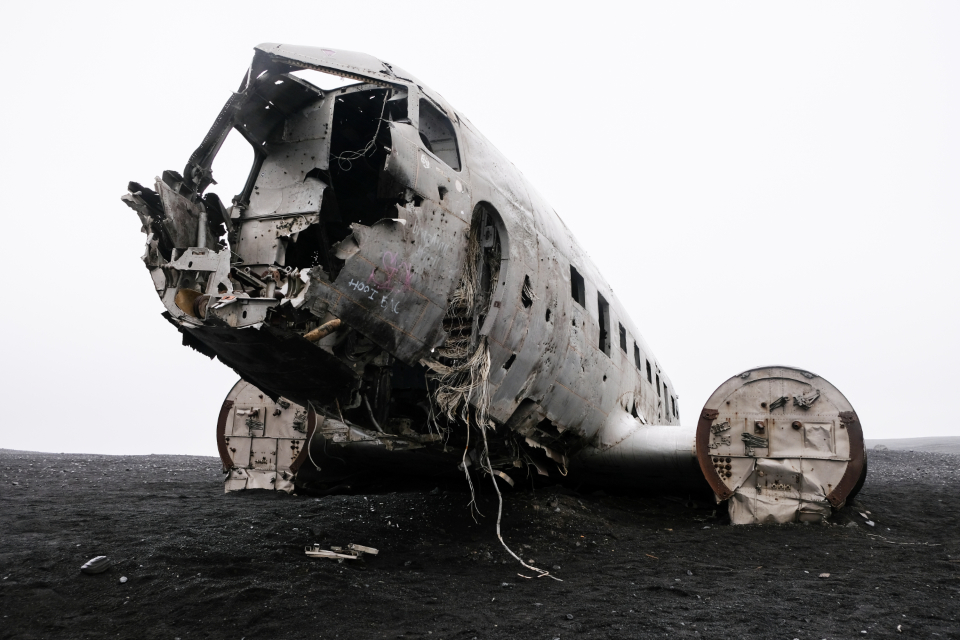 iceland plane wreck crash moody abandoned aircraft aviation broken damage landmark landscape outdoors lonely lost metal old travel vintage accident