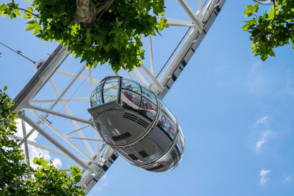 amusement park rides adventure travel outdoor london eye blue sky green trees