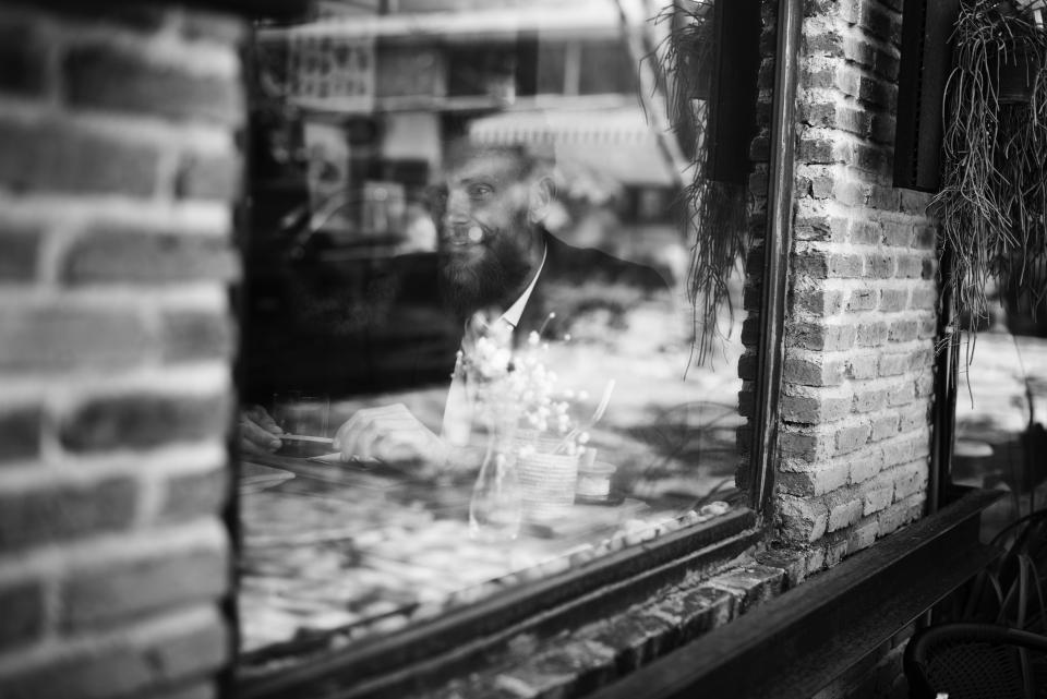 window glass bricks wall black and white cafe restaurant