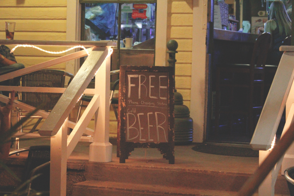 free beer sign bar typography chalk stairs door winndow wood