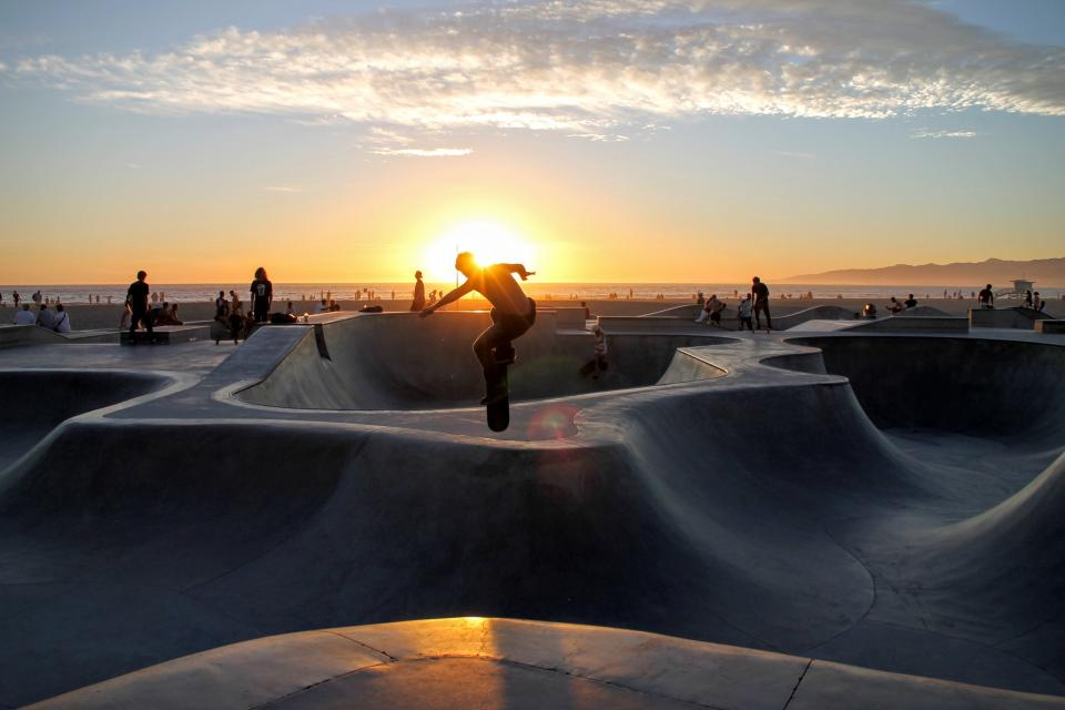 skateboard people guy skateboarding sport venue horizon sky clouds sunset sunrise sunlight