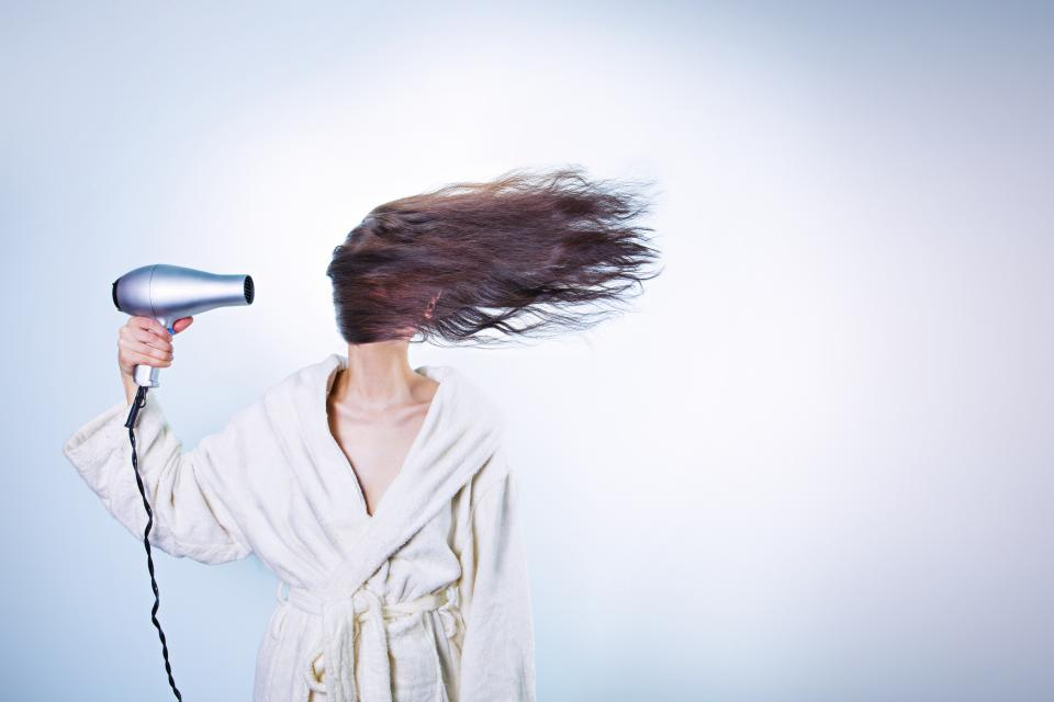 blow dryer long hair robe woman girl brunette people beauty