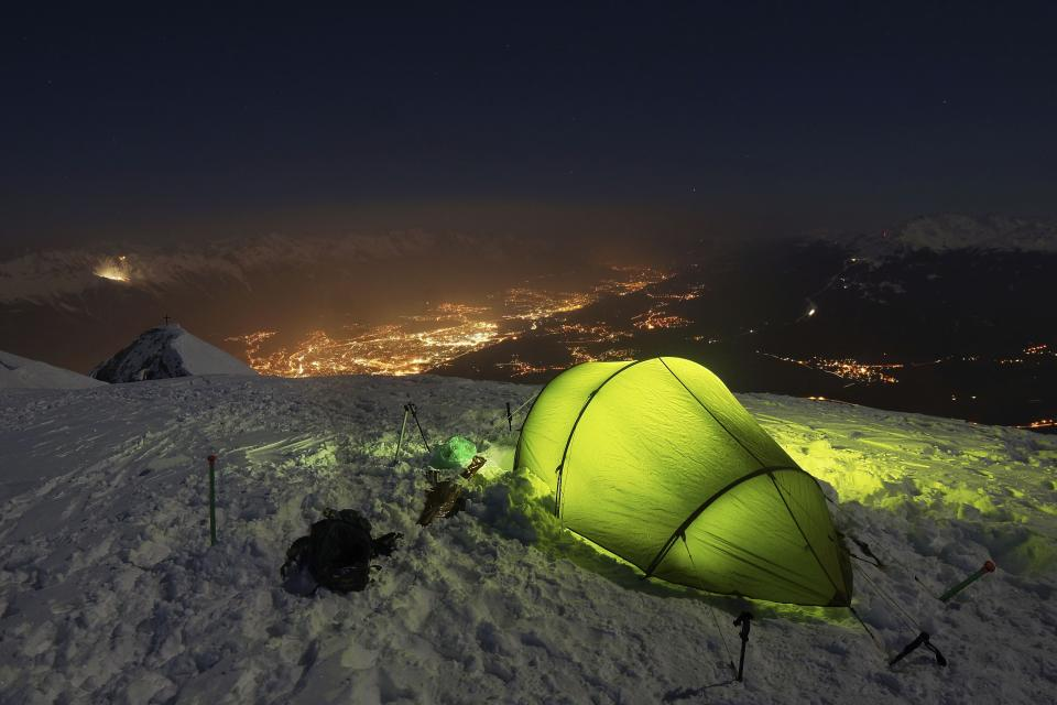 mountain highland cloud sky summit ridge landscape nature valley hill snow winter view travel night tent camping light adventure