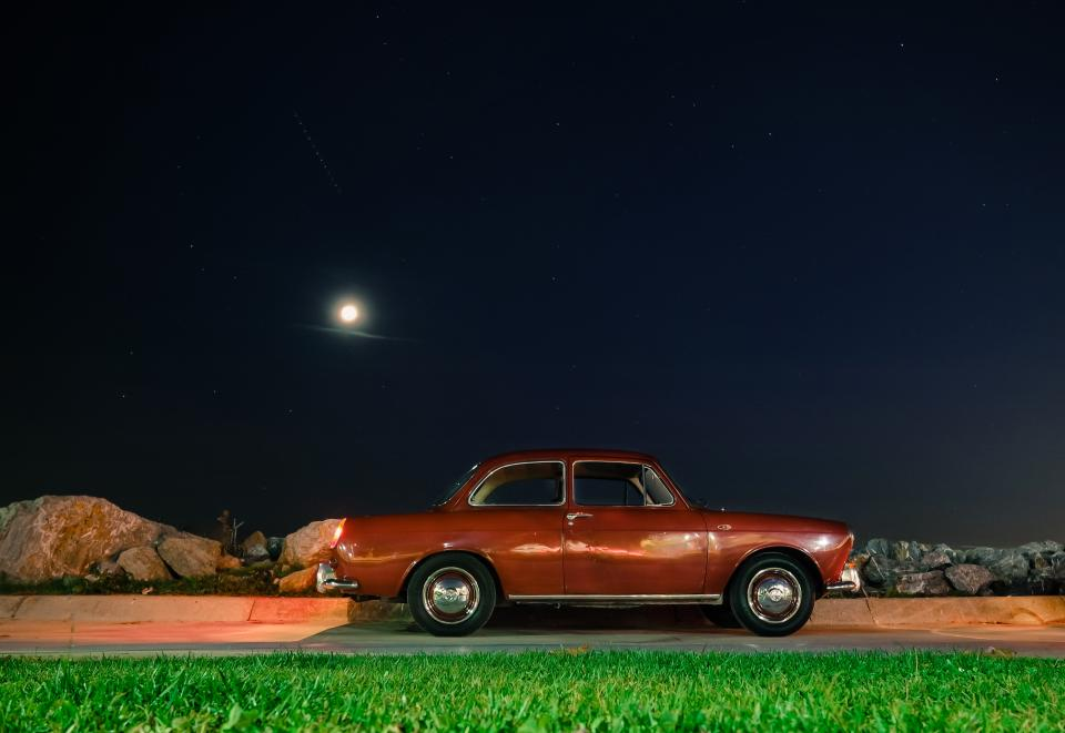 car vehicle transportation old vintage grass green dark night moon