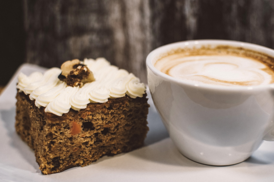 carrot cake cappucino coffee mug cup slice baking bakery fresh food desert drink