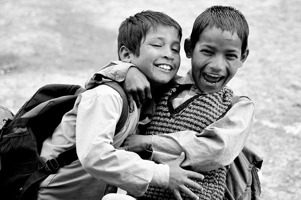 people kids children friends student boys smile happy black and white