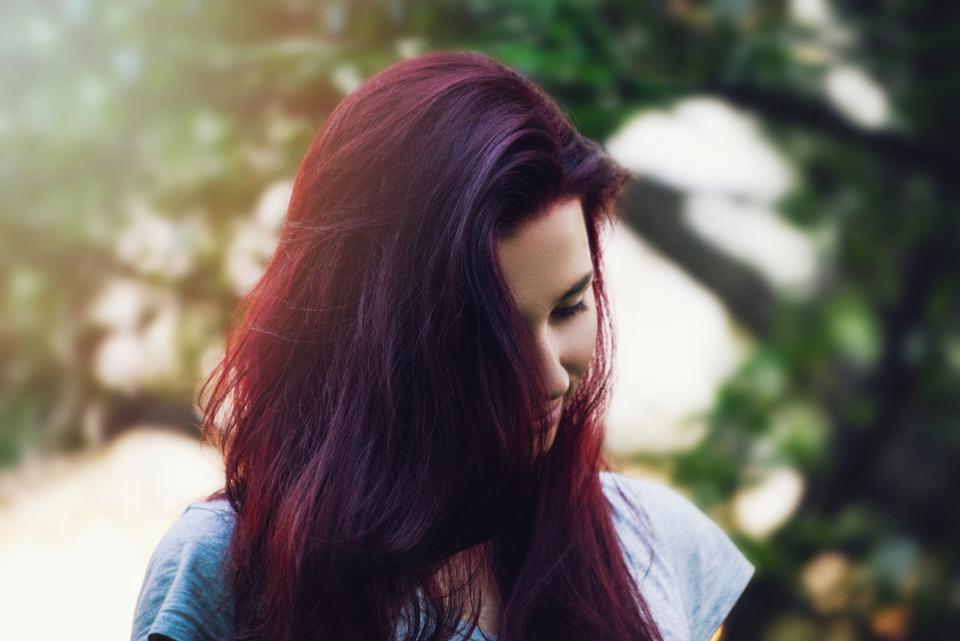 nature trees people woman lady girl purple hair ombre