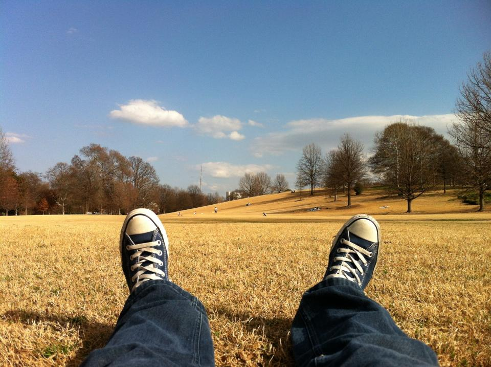 shoes sneakers laces converse jeans feet legs blue sky clouds trees field