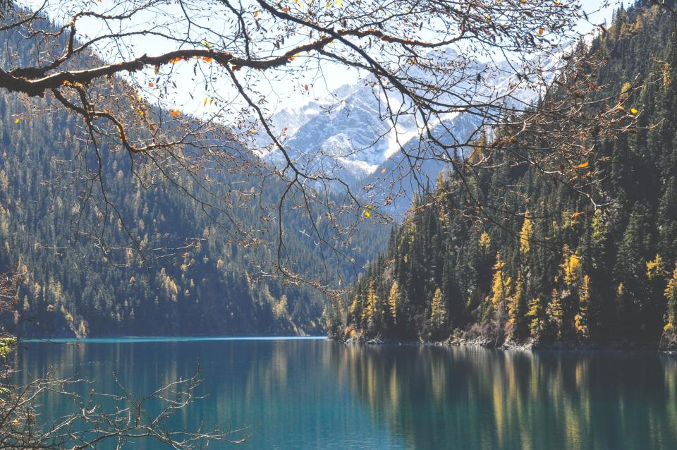 lake water mountains hills trees nature landscape Five Flower Lake Jiuzhaigou Sichuan China