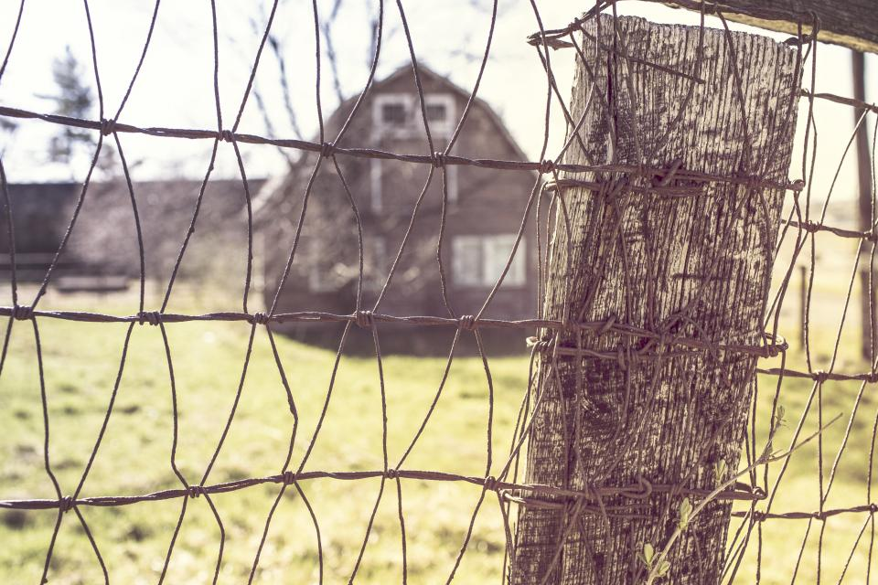 fence wire wood post farm barn country field grass