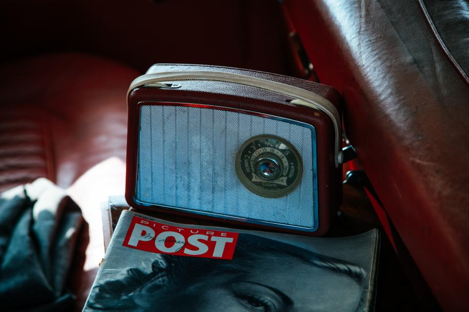 still items things radio cool old vintage speaker post magazine backseat car vehicle red automobile