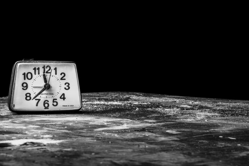 clock time alarm black and white