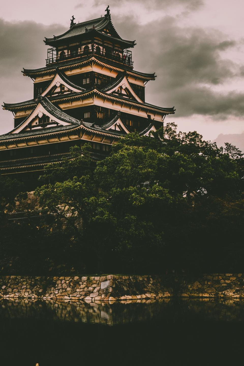 architecture building infrastructure design hiroshima castle japan travel trees plant nature water